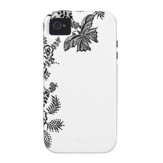 Floral rose branch butterfly silhouette iPhone 4 Vibe iPhone 4 Cases