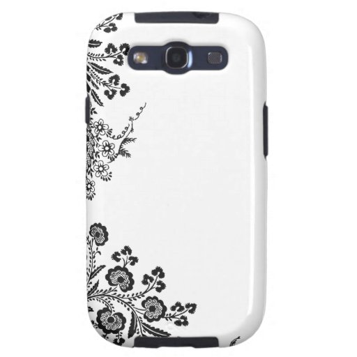 Floral rose branch silhouette Samsung Galaxy case Samsung Galaxy S3 Cases