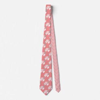 Floral Rose Chevron Pattern White Pink Mint Art Tie