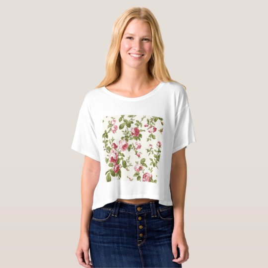 """""""Floral rose"""" crop top for women"""