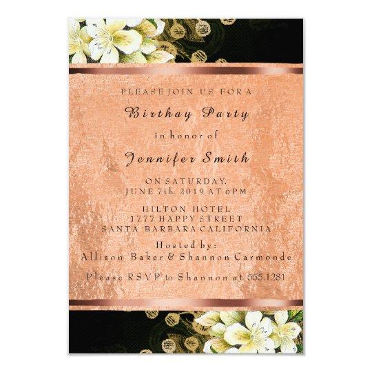 Floral Rose Gold Copper Birthday Bridal Black Card