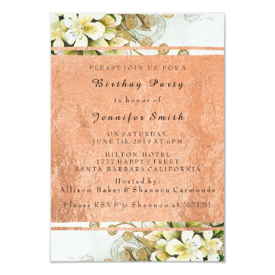 Floral Rose Gold Copper Birthday Bridal Party Card