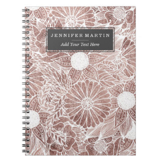 Floral Rose Gold Flowers and Leaves Drawing White Spiral Notebook