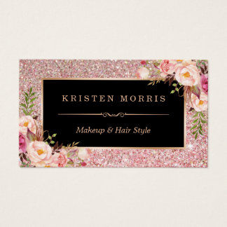Floral Rose Gold Glitter Makeup Artist Hair Salon
