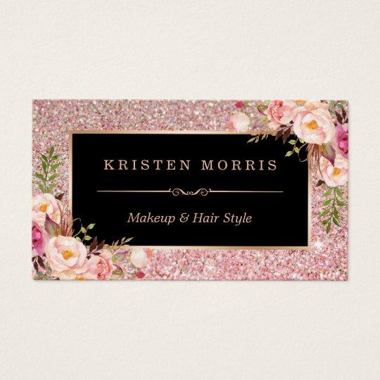 Floral Rose Gold Glitter Makeup Artist Hair Salon