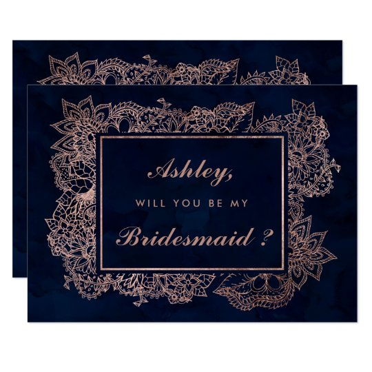 Floral rose gold navy watercolor be my bridesmaid