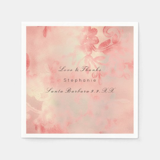 Floral Rose Gold Ombre Peach Copper Custom Name