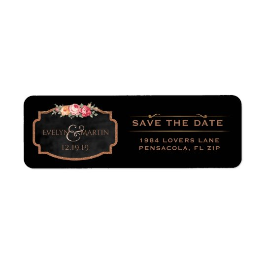 Floral Rose Gold Save the Date Chalkboard Wedding