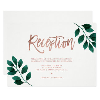 Floral rose gold white green reception wedding card