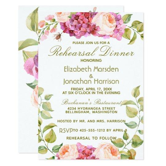 Floral Rose Hydrangea Spring Rehearsal Dinner Card