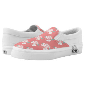 Floral Rose Pattern White Pink Mint Art Design Printed Shoes