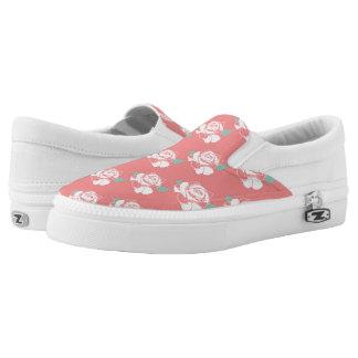 Floral Rose Pattern White Pink Mint Art Design Slip On Shoes