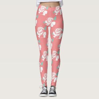 Floral Rose Pattern White Pink Mint Art Leggings