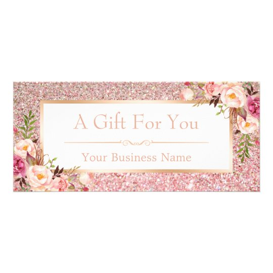Floral Rose Pink Glitter Gift Certificate Card