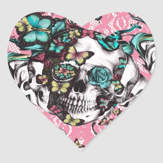 Floral rose skull with butterflies. heart sticker