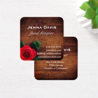Floral Rose Wood Floral Designer Business Card