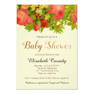 Floral Roses Baby Shower Inivtation Card