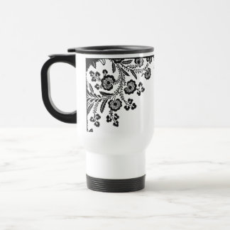 Floral roses branch rose flowers girly silhouette travel mug