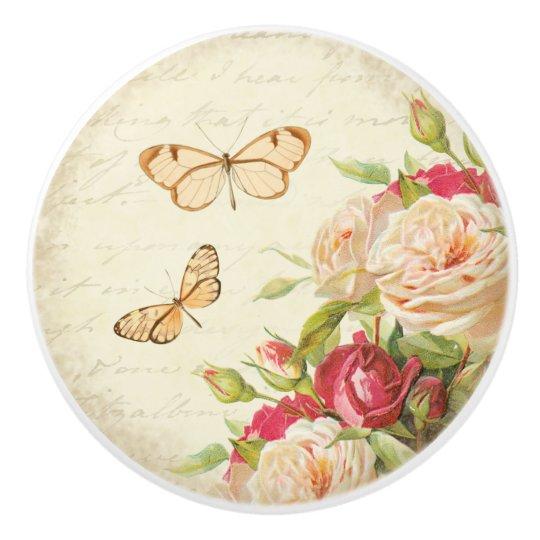 Floral roses & butterfly vintage ceramic knob