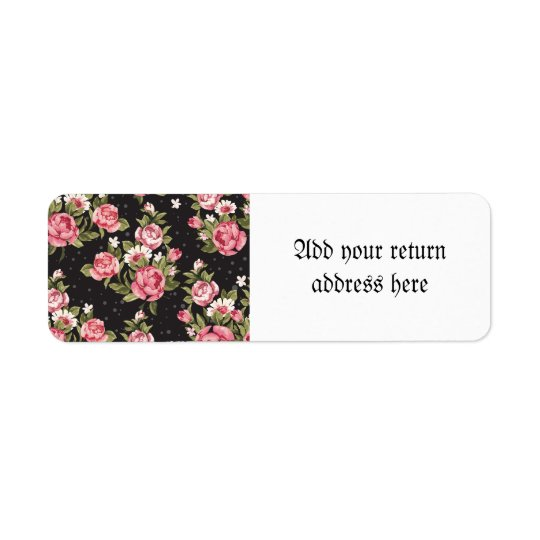 floral,roses,red,black,background,shabby chic,pink return address label