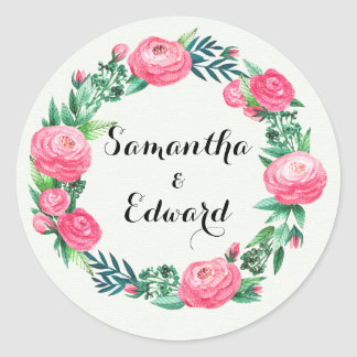 Floral Roses Watercolor Leaves Classic Round Sticker
