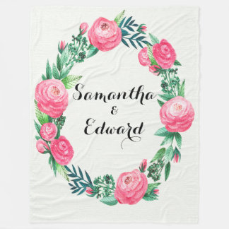 Floral Roses Watercolor Leaves Fleece Blanket