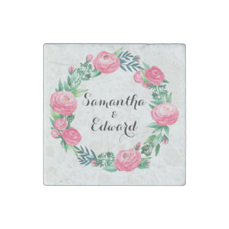 Floral Roses Watercolor Leaves Stone Magnet