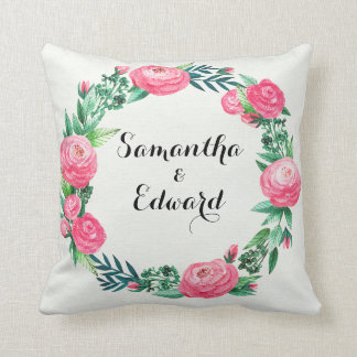 Floral Roses Watercolor Leaves Throw Pillow