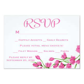 Floral RSVP Fuchsia Pink And White Flowers Wedding 9 Cm X 13 Cm Invitation Card