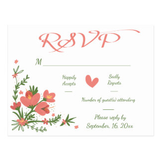 Floral RSVP Pink Coral & Green Flower Wedding Postcard