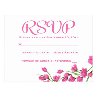 Floral RSVP Pink Fuchsia & White Flowers Wedding Postcard