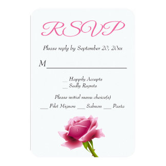 Floral RSVP Pink Rose Flower Party / Wedding 9 Cm X 13 Cm Invitation Card
