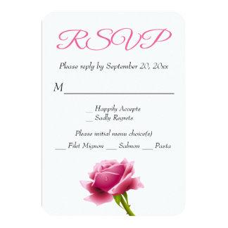 Floral RSVP Pink Rose Flower Party / Wedding Card