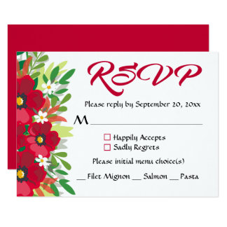 Floral RSVP Red Burgundy Flowers Watercolor Party Card