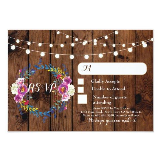 Floral RSVP Wedding Wood Response Cards Lights