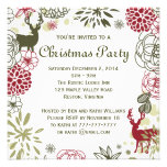 Floral Rustic Deer Christmas Party Invitation