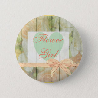 "Floral Rustic ""Flower Girl"" Wedding  Button"
