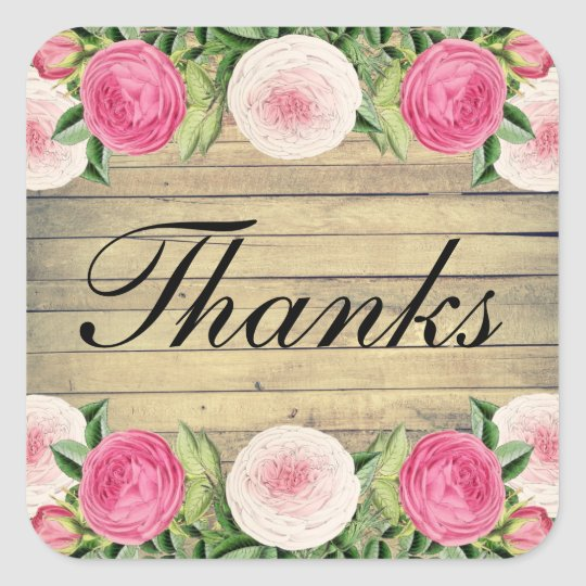 Floral rustic rose wedding thank you sticker