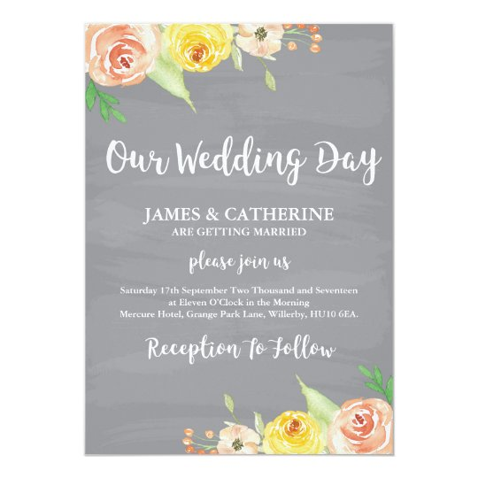 Floral, Rustic Wedding Invitation