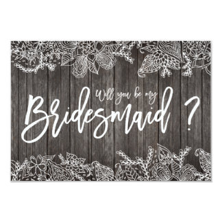 Floral rustic wood typography bridesmaid 9 cm x 13 cm invitation card