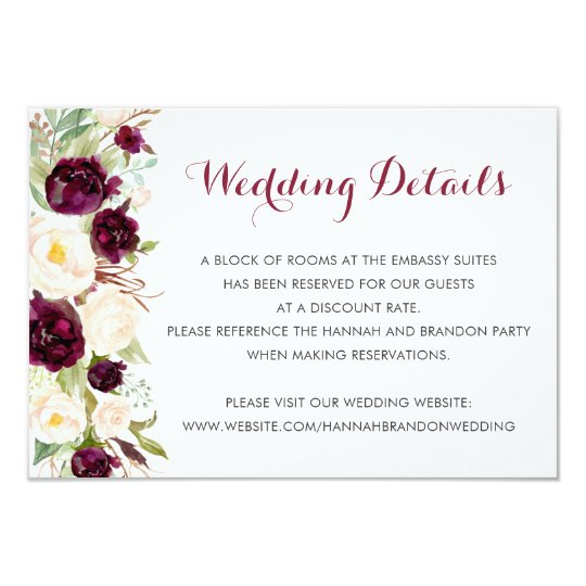 Floral Sage Marsala Peonies Wedding Insert Card