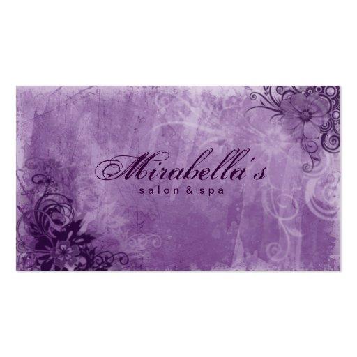 Floral Salon Spa Business Card Grunge Purple