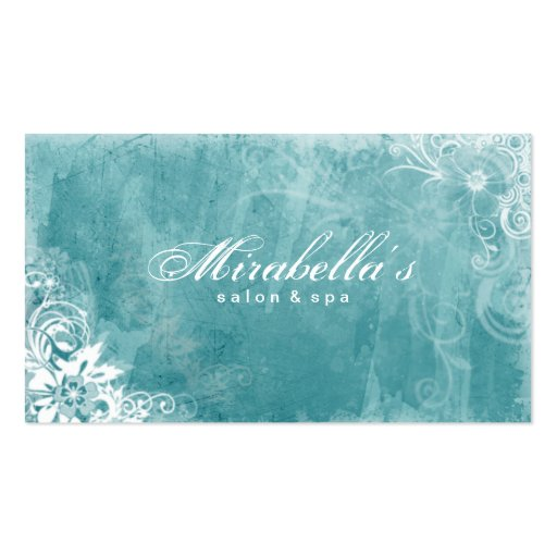Floral Salon Spa Business Card Grunge Turquoise W
