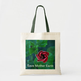 """Floral """"Save Mother Earth"""" Go Green Tote Bag"""
