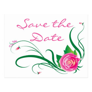 Floral Save the Date Pink Fuchsia Rose Flower Postcard