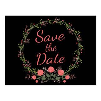 Floral Save the Date Pink Rose Black Wedding Postcard