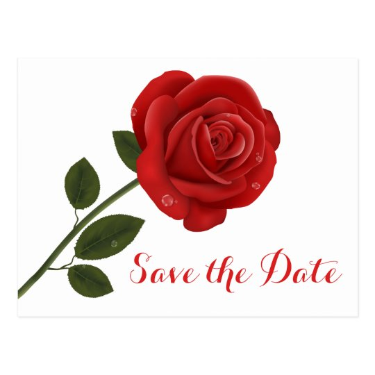 Floral Save the Date Wedding Red Rose Flowers