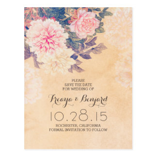 Floral save the date with pink peonies postcard