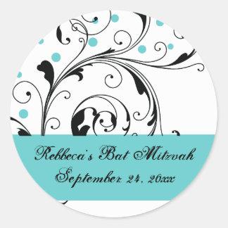 Floral scroll leaf black, white, aqua Bat Mitzvah Classic Round Sticker