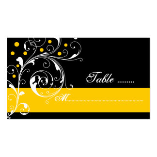 Floral scroll leaf black yellow wedding place card pack of standard business cards